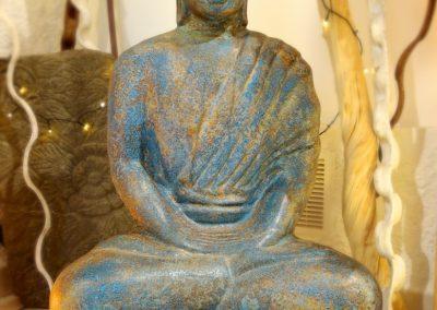 Buddha méditation, 1m, terra-cota
