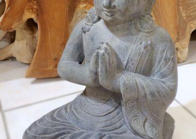 Buddha mudra Salut, 40 cm, pierre reconstituée
