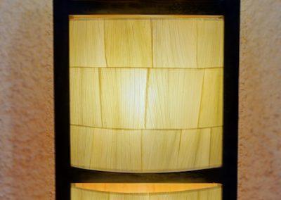 Lampe Pillar 3 cases, teck et maïs