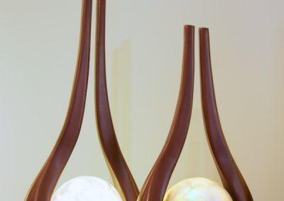 Lampe Diapason, structure bois cuivrée
