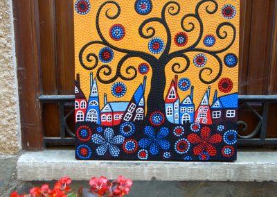 Village Onirique, Acrylique, 50x50