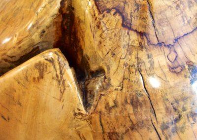 Boule Déco et son support, 45 cm de diamètre, bois de Tamarin, détail