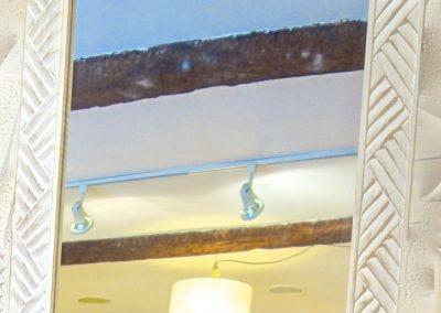 Miroir Triangle, bois de Durian, 100x70