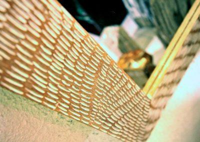 Miroir Griffe, 100x70, bois de Durian, détail