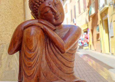 Buddha Siddharta rêveur, bois de suar, 40 cm