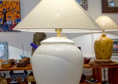Lampe Lotus, finition craquelé