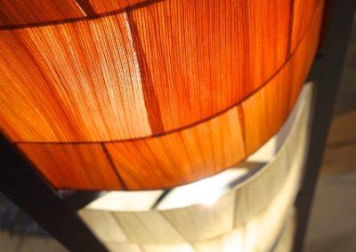 Lampe Pillar, 5 cases détail abat jour feuilles de maïs