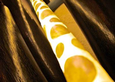 Lampe Tube Capiz pastilles, détail