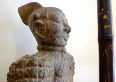 Guerrier Javanais et sa lance, terracota, 100 cm