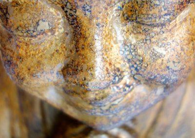 Shaolin Mimpi manis, Terracota, 60 cm, détail visage