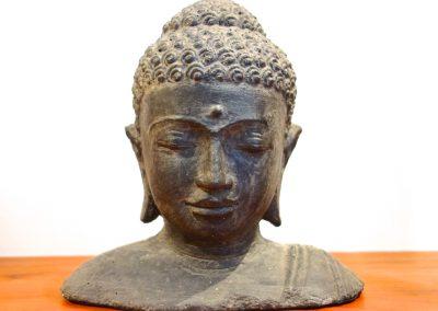 Visage Buddha Siddharta, pierre volcanique, 25 cm