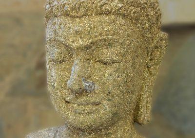 Tête Buddha Siddharta, pierre volcanique, 35 cm
