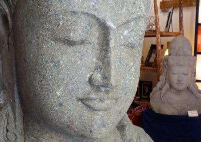 Buste de Shiva, Pierre volcanique, 130 cm, détail visage