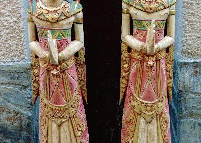 Statues Sita et Rama, bois d'Albizia, 120 cm