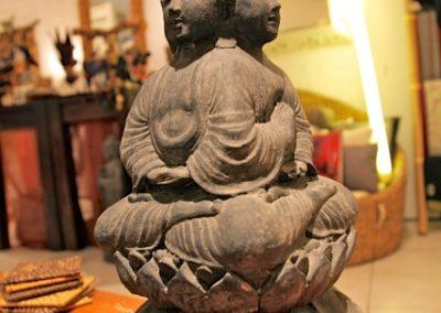 Buddha Siddharta, 4 mudra, pierre reconstituée, 45 cm