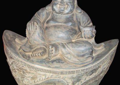 Buddha chinois, pierre reconstituée, 40 cm