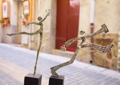 La Ballerine et l'Homme d'Affaires, métal, 45 cm de haut