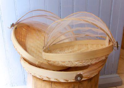 Panières rondes, bambou et coton, 3 tailles différentes