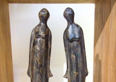 Les Sylphides, bois d'albizia, base en ciment, hauteur 58 cm