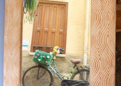 Miroir Mata, bois de durian, 50x60